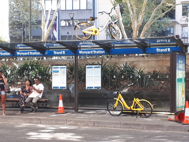 share bike on a bus stop