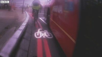 cyclist view of a bus