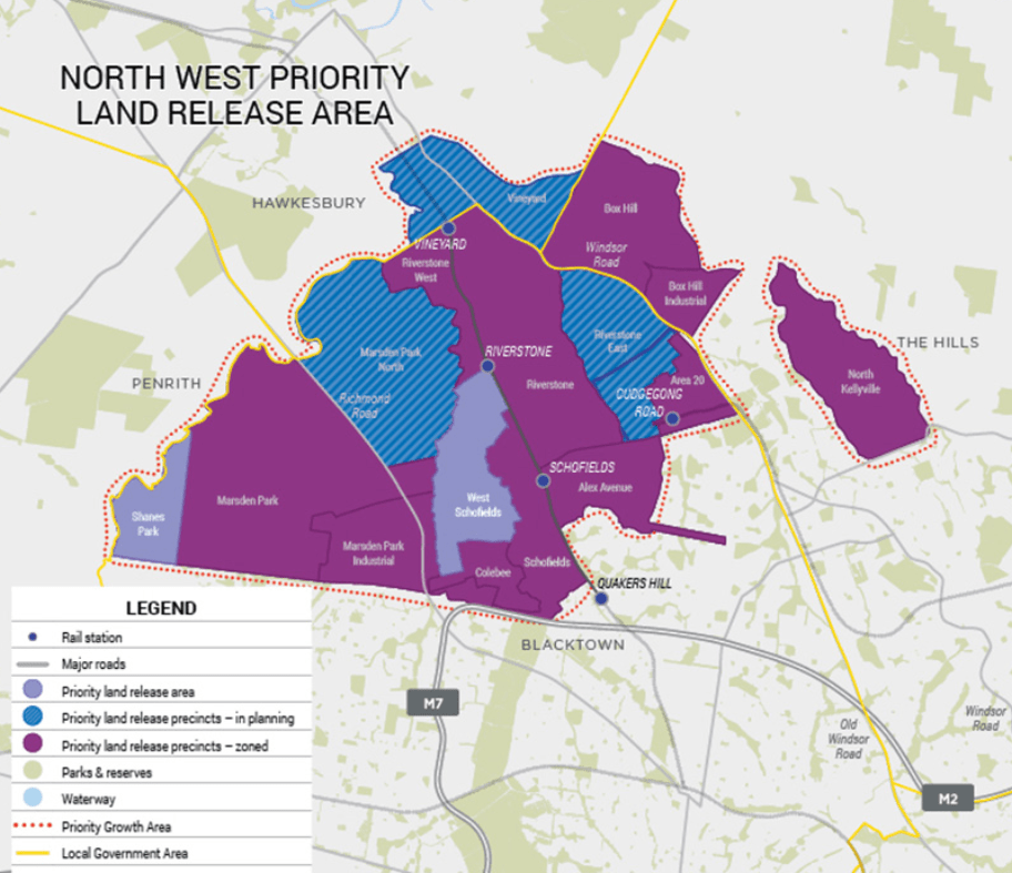 north west priority growth centre map